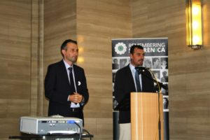 Hajrudin Mesic (left) & Resad Trbonja at Remembering Srebrenica, Cardiff